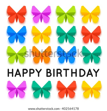 set of colorful paper butterfly