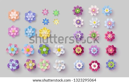 set of colorful paper flowers . Paper art style