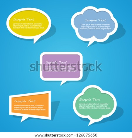 Set of Colorful Paper Speech Bubbles