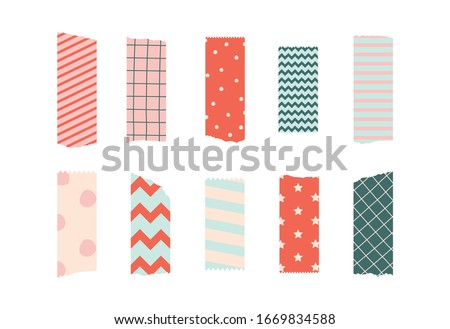 Set of colorful patterned washi tape strips. Vector illustration of a cute decorative scotch tape isolated on white background