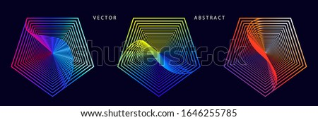 Set of Colorful Pentagonal Graphic Elements on Dark Background. Abstract Optical Illusion Vector Symbols. ストックフォト ©