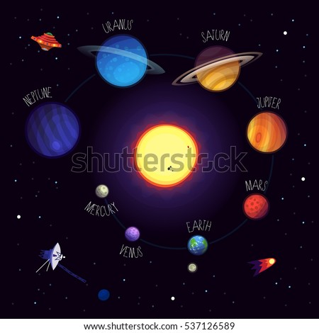 Stock Photo Set of colorful planets with names, cosmic elements, space equipment, alien saucers. Vector planets of solar system. All elements can be used separately.
