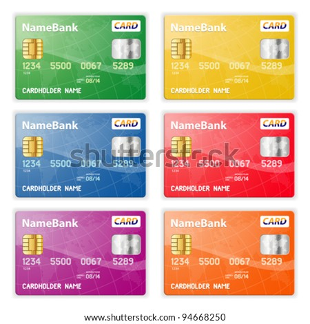 Set of Colorful Plastic Credit Cards, vector illustration #94668250