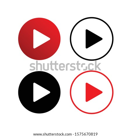 Set of colorful play buttons flat vector icons isolated on a white background. Youtube button.