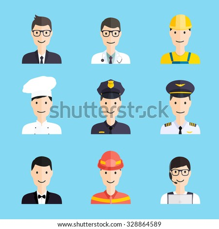 Set of colorful profession man flat style icons: businessman, doctor, artist, designer, cook, police, teacher, pilot, admin. Vector illustration.