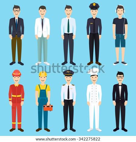 Set of colorful profession man flat style icons: businessman, doctor, artist, designer, cook, police, teacher, pilot, admin. Vector illustration.