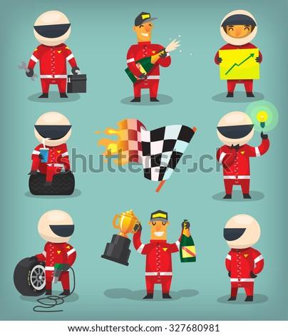 set of colorful racing