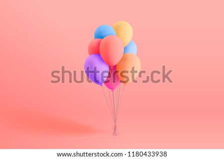 Set of colorful realistic mat helium balloons floating on pink background. Vector 3D balloons for birthday, party, wedding or promotion banners or posters. Vivid illustration in pastel colors.
