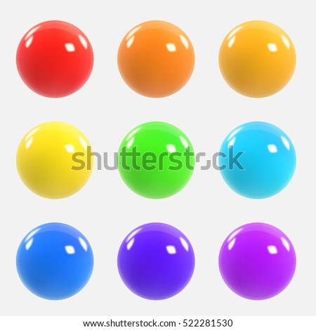 Stock Photo Set of colorful realistic spheres. Colorful three-dimensional balls. Vector illustration for your graphic design.