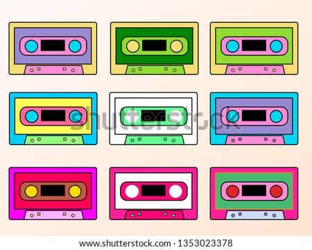 Set of colorful Retro audio tape cassette, vintage mixtape on isolated white background. Old technology. Vector illustration