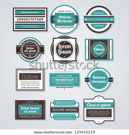 set of 12 colorful retro badges