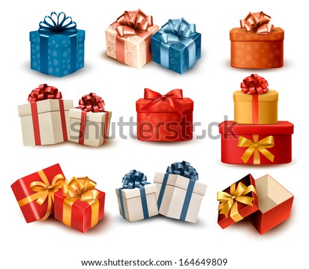 set of colorful retro gift