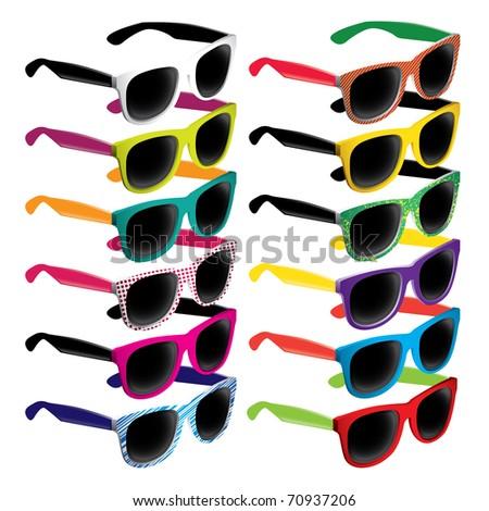 Set of colorful retro sunglasses. Vector illustration.