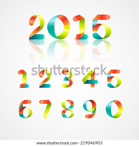 set of colorful ribbon font