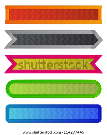 Set of colorful ribbons of different shapes for bookmarking or label design with realism effects. EPS10 vector.