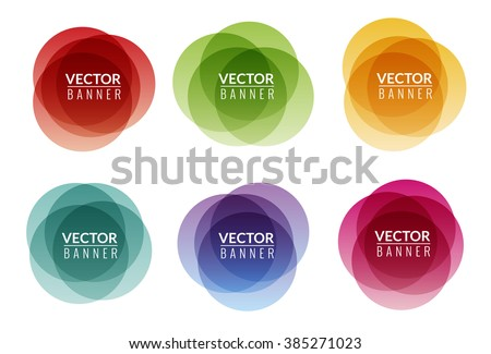 Set of colorful round abstract banners shape. Graphic banners design. Label fun tag