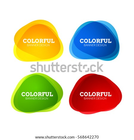 Set of colorful round abstract banners shape. Graphic overlay banners design. Fun label or tag design