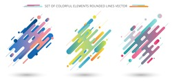 Set of colorful rounded lines shapes in diagonal rhythm dynamic composition on white background. Vector illustration