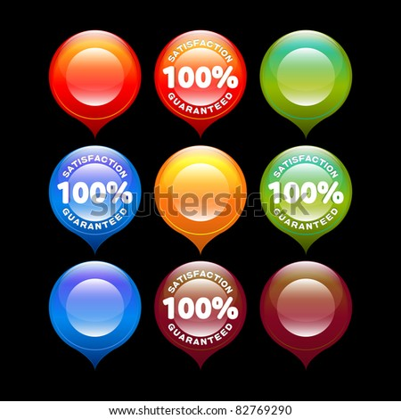 set of colorful satisfaction guaranteed and blank labels