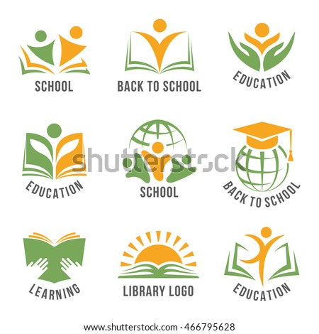 Set of colorful school logos flat isolated green and orange vector illustration