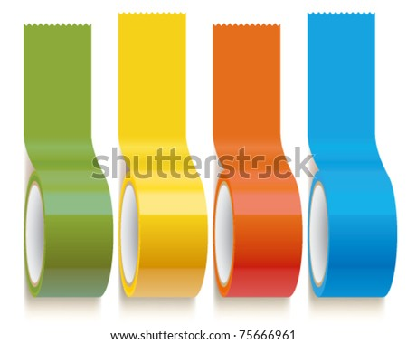 Set of Colorful Scotch adhesive Tape - stock vector
