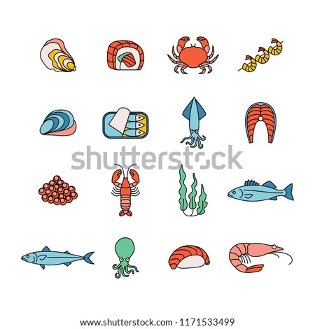 set of colorful seafood icons
