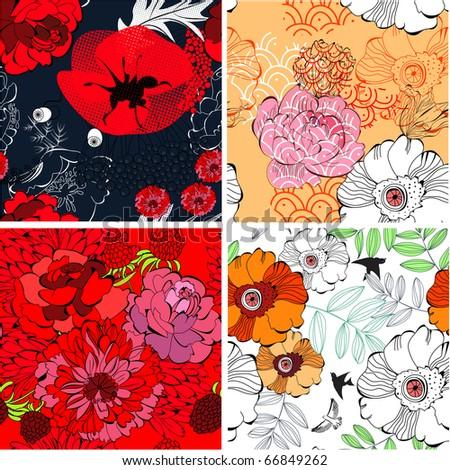 Set of colorful seamless pattern