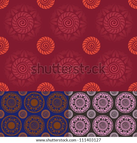 set of colorful seamless vintage pattern