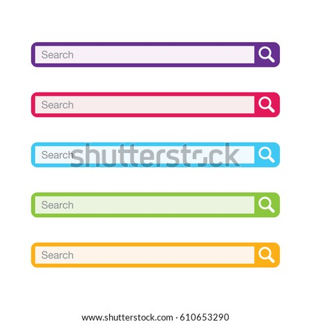 Set of colorful search bars, flat web design elements.