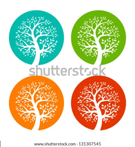 set of colorful season tree