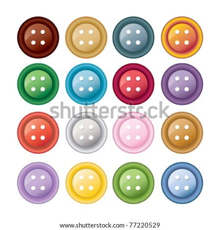 Set of colorful sewing buttons - vector illustration #77220529