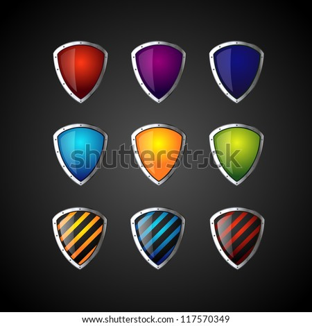 set of colorful shield