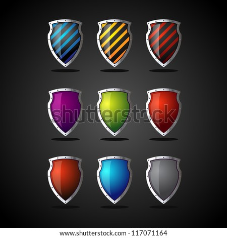 set of colorful shields