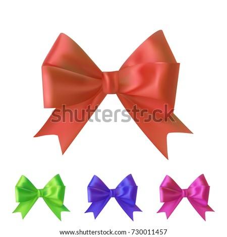 set of colorful silk ribbon