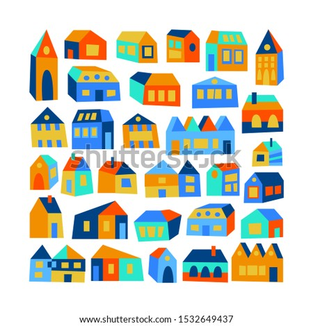 Set of colorful skew uneven houses with windows, doors, roofs. Flat design hemes, cute kids style city. Orange, yellow, blue green. Funny childish asymmetric collection with buildings. Small town.