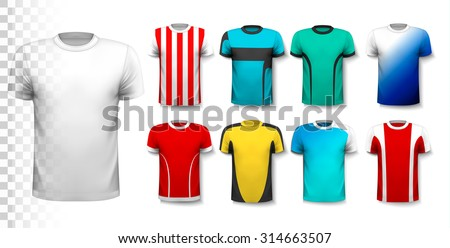 set of colorful soccer jerseys