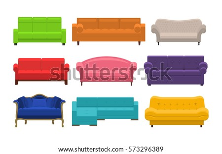 set of colorful sofa icon