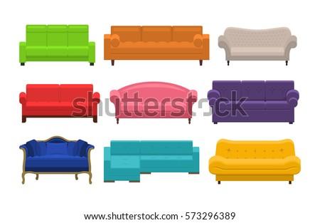 set of colorful sofa icon