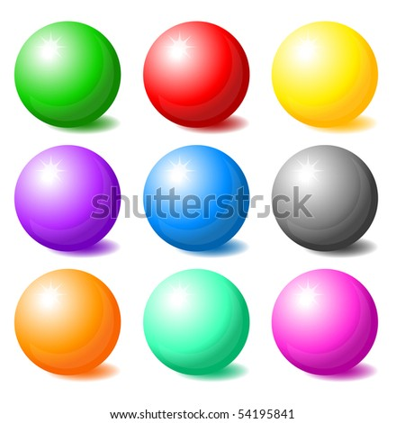 Set of colorful spheres - stock vector