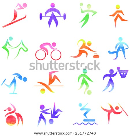 Set  of colorful sport icons,