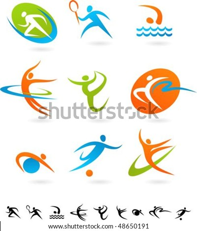 Set of colorful sport icons - 1
