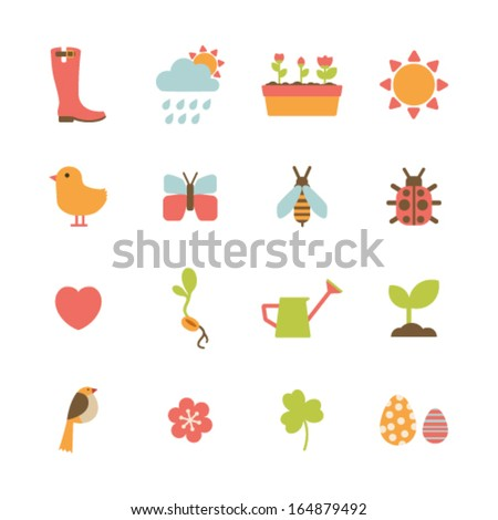 set of colorful spring icons
