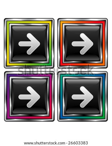 Set of colorful, square arrow or direction buttons for web or desktop applications