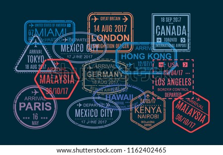 Set of colorful stamp and printing, marks in foreign passport for air travel. Template of seal in visited countries of world, watermarks, international travel document with visas. Vector illustration.