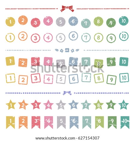 Set of colorful stamp numbers / Vector EPS 10 illustration