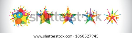 set of colorful stars star