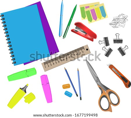 Set of colorful stationery for office and school , scissors, knife, pen, pencil?notebook, ruler, marker. Isolated on white background vector illustration Foto stock ©