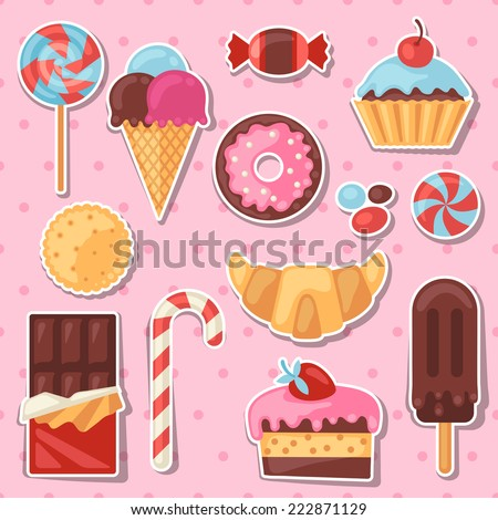 Set of colorful sticker candy sweets and cakes