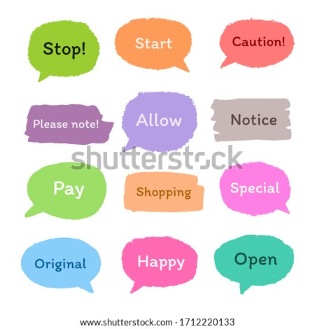set of colorful sticker with short message, hand drawn set of cute doodle speech bubble for chat symbol, tag, label or dialog word