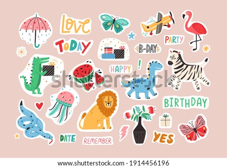 Set of colorful stickers with cute and funny animals and lettering. Hand-drawn characters and handwritten words for notebook, scrapbook or planner. Colored flat graphic vector isolated illustrations